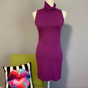 Topshop Purple Bodycon Turtleneck Dress C9